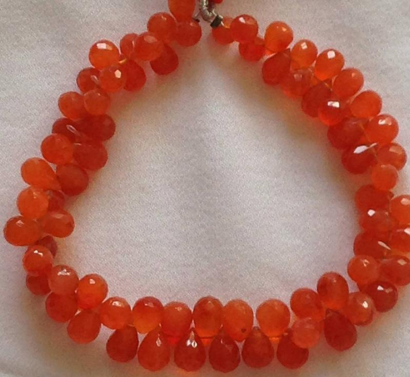 Ali Rand Mexico Distrito Federal Beads Strand Carnelian Orange Teardrop Top Drilled Faceted