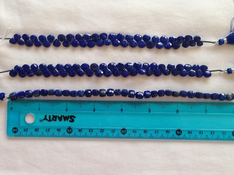Ali Rand Mexico Distrito Federal Beads Strand Lazurite / Lapis Lazuli Blue Teardrop Top Drilled Faceted