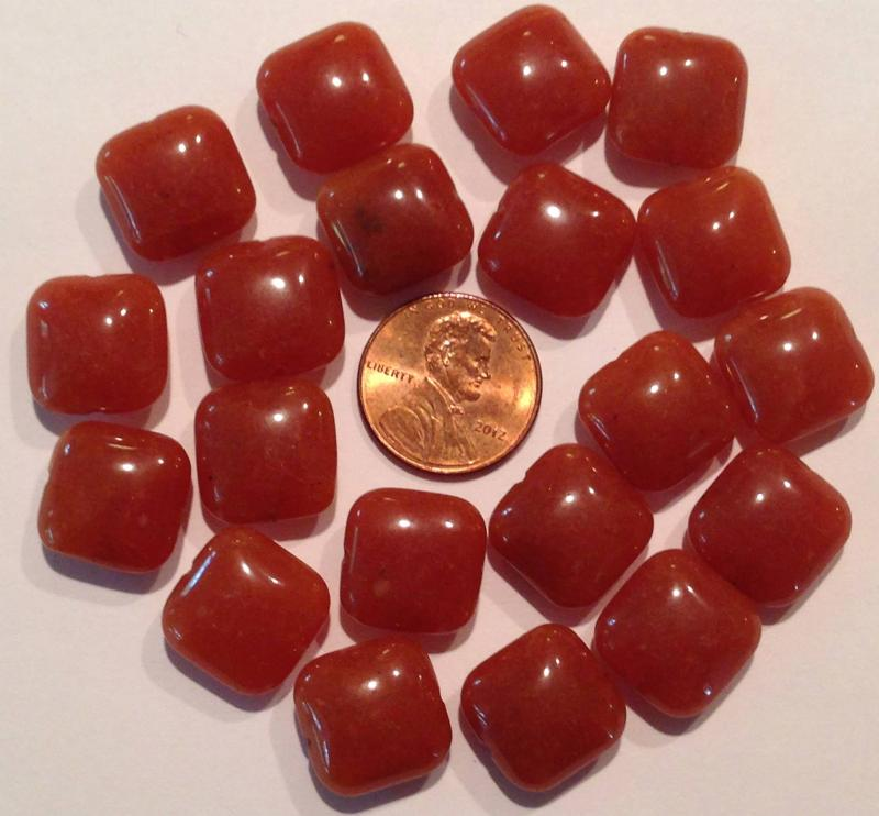 Ali Rand Mexico Distrito Federal Beads Parcel Orange Red Teardrop Top Drilled