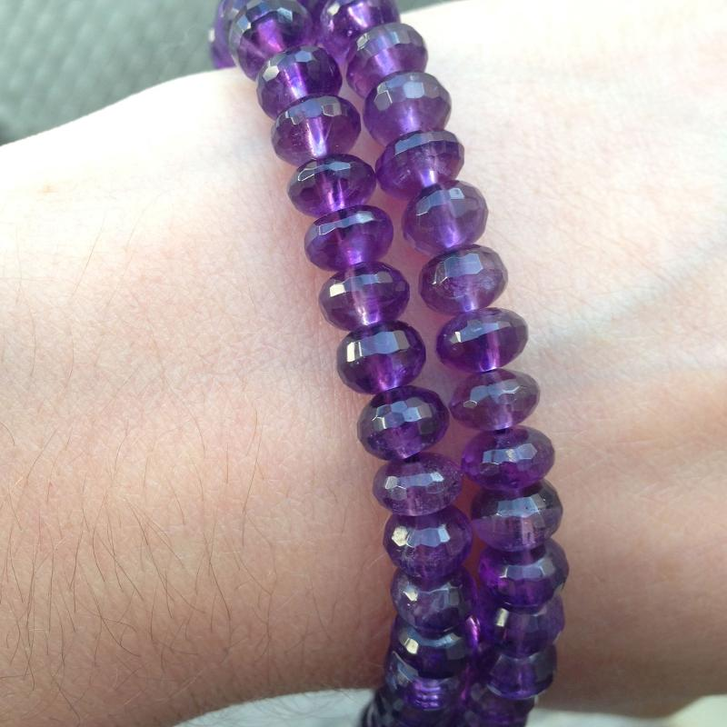 Ali Rand Mexico Distrito Federal Beads Strand Amethyst Purple Rondelle Faceted