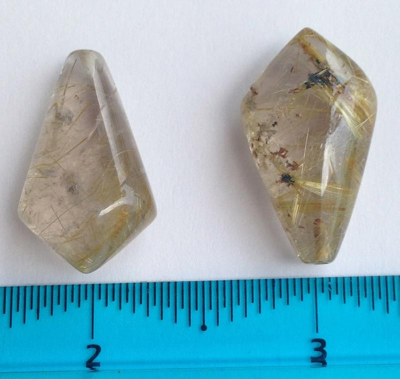 Ali Rand Mexique Distrito Federal Beads Parcel Rutile Yellow Teardrop Top Drilled