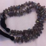 Ali Rand Mexico Distrito Federal Beads Strand Labradorite Gray Teardrop Top Drilled Faceted