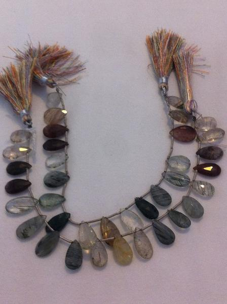 Ali Rand Mexique Distrito Federal Beads Strand Rutile Multi-Color Teardrop Top Drilled Faceted