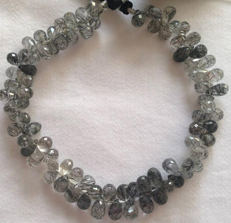 Ali Rand Mexico Distrito Federal Beads Strand Quartz Black Teardrop Top Drilled Faceted
