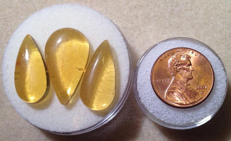 Ali Rand Mexico Distrito Federal Gemstones Amber Yellow Pear Cabochon Lot Very slight inclusions