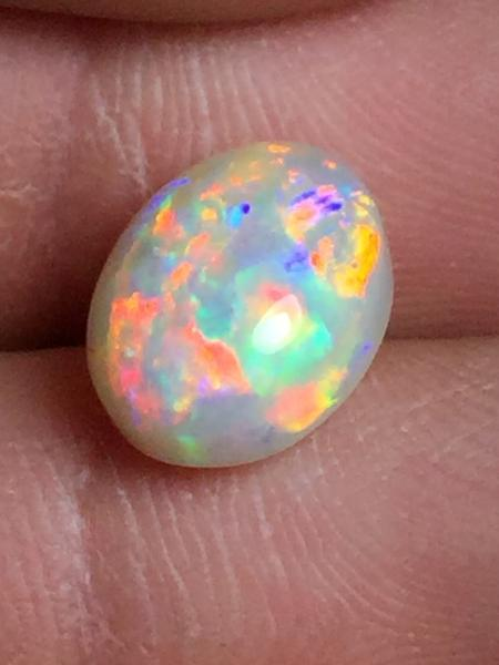 Natural Opals USA Indiana Gemstones Opal Multi-Color Oval Cabochon Single