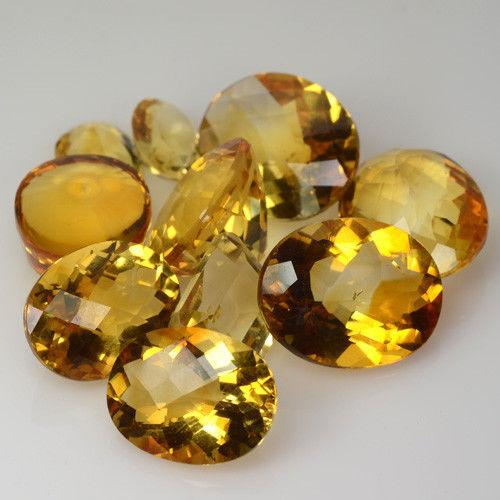 Gemville   LOVELY 80 CTS NATURAL YELLOW CITRINE MIXED SIZE OVAL LOT LOOSE GEMSTONES