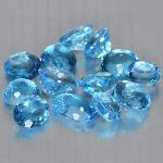 Gemville   Beautiful 50 cts Natural Sky Blue Topaz Oval  9 x 7 mm Lot Loose Gemstones