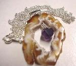 Earth Treasures USA Massachusetts 33 Mm Long 23 Mm Wide 0.3 Oz. Sliced Agate Geode Pendant With Sterling Wire Wrap With...