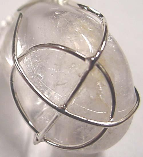 Earth Treasures USA Massachusetts 32 Mm Long 22 Mm Wide 0.8 Oz. Clear Crystal Quartz Pendant Sterling Silver Wire Wrap