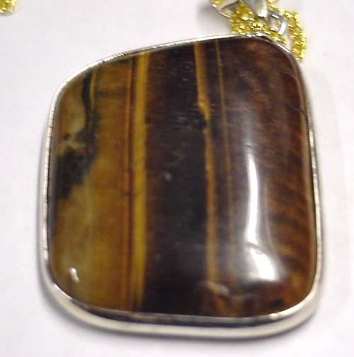 Earth Treasures États-Unis Massachusetts 37 Mm Long 29 Mm Wide 0.6 Oz. Picture Jasper Pendant With Chain