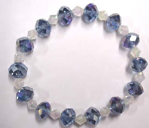 Earth Treasures USA Massachusetts Light Blue And Clear Faceted Bracelet