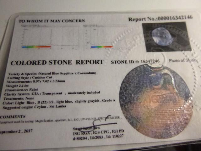 Gemtrading Turkey Izmir Certified 2.14ct Blue Ceylon Sapphire , 100% Natural Untreated Gemstone