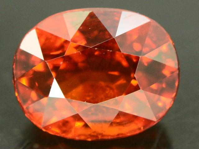 Mineralsparadise Pakistan Islamabad Gemstones Spessartite Garnet Orange Oval Faceted Single Very slight inclusions