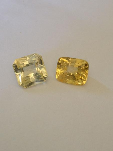 Royalgems Australia New South Wales Gemstones Sapphire Yellow Cushion Faceted Single Slightly included