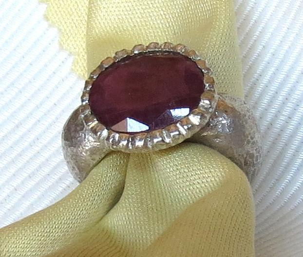 Luanap Italie Roma Hand made ring silver 925 whit India ruby