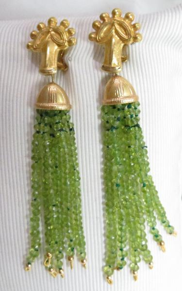 Luanap Italy Roma Earrings pendant whit peridoto gold 18Kt hand made