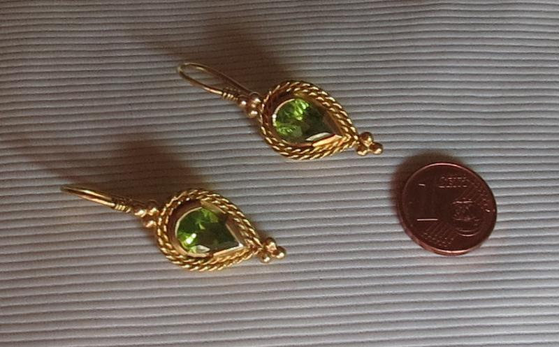 Luanap Italy Roma Earring whit peridot 5 Kt, gold 18 Kt, clip ,hand made