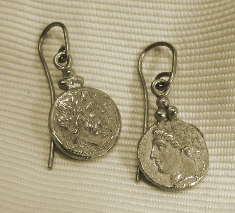Luanap Italie Roma Earrings silver 925 copy roman coins hand made