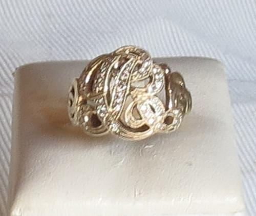"Luanap Italie Roma Ring monogram ""RC"" gold 18 Kt whit diamonds 0,7 Kt H color hand made"