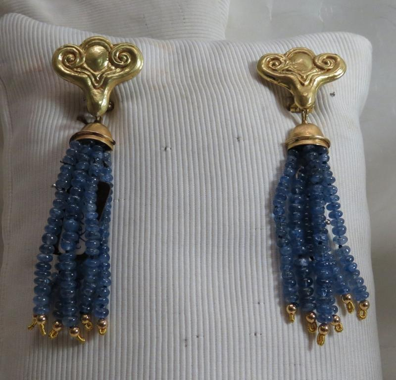 Luanap Italia Roma Earrings pendant whit sapphire gold 18Kt hand made