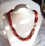 Luanap Italy Roma Necklace torchon coral Sardinia 1,3 mm 4 wires and onyx 1mm 4 wires