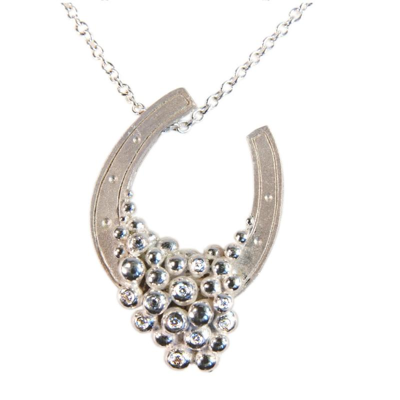 Jane A Gordon Jewelry États-Unis New York Equestrian-Lucky You Necklace-Sterling Silver, half filled with diamonds