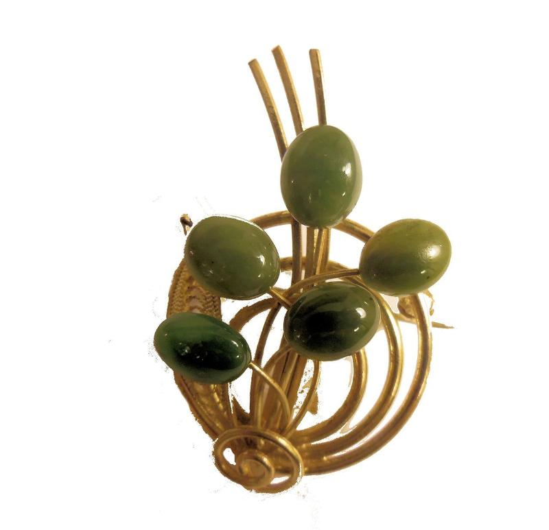 Jane A Gordon Jewelry États-Unis New York Vintage Brooch with Jade