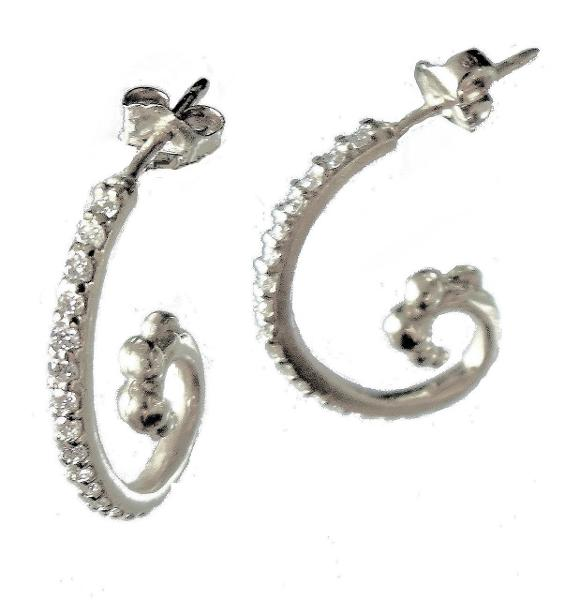 Jane A Gordon Jewelry Estados Unidos New York Ocean earrings-Sterling silver with diamonds- small
