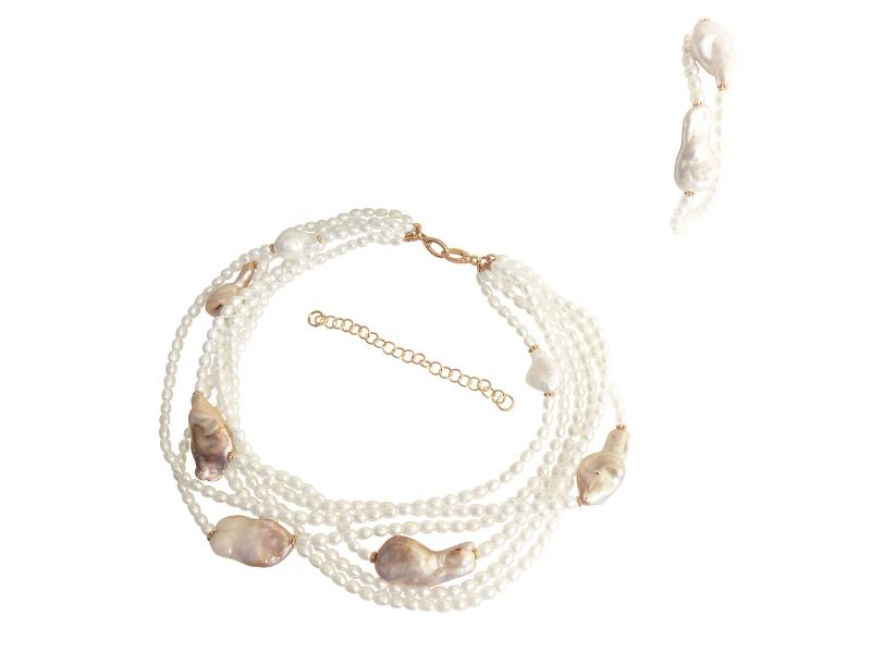 Jane A Gordon Jewelry États-Unis New York White on Rice-White baroque pearls on white rice pearls-Multistrand necklace bracelet set