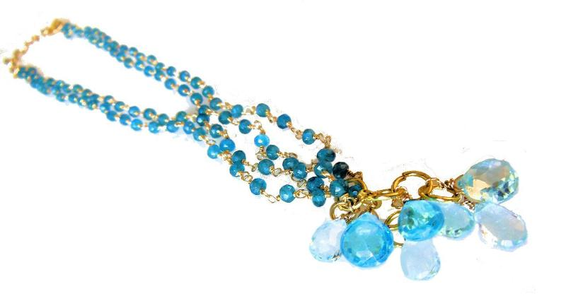 Jane A Gordon Jewelry États-Unis New York The Blues! Blue briolettes on twisted wire necklace.