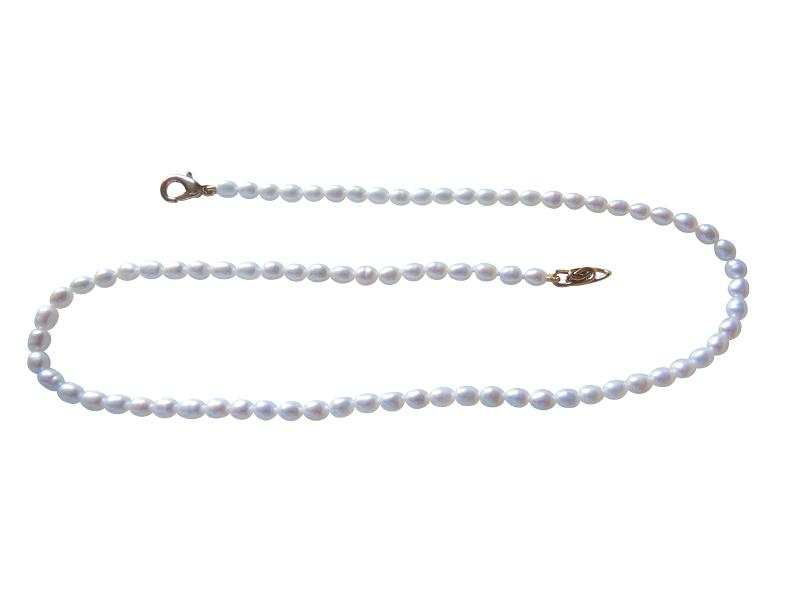 Jane A Gordon Jewelry USA New York Rice shaped freshwater pearls from China- necklace