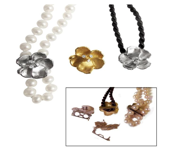Jane A Gordon Jewelry USA New York Metal petals- Pansy pearl enhancer-sterling with plate options