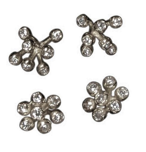 Jane A Gordon Jewelry USA New York Fireworks-7 Earrings-Sterling Silver with diamonds - plate options