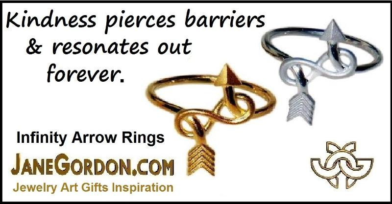 Jane A Gordon Jewelry États-Unis New York Arrow & Infinity Ring - Sterling Silver plated in 18K gold or rhodium