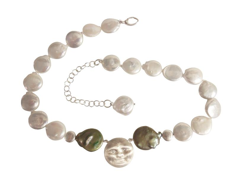 Jane A Gordon Jewelry Estados Unidos New York Sterling Silver Face, Diamond Eyes on coin pearl necklace: small