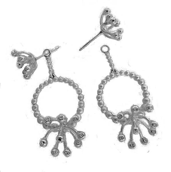 Jane A Gordon Jewelry USA New York Circle Fireworks Earrings-Sterling Silver & Diamonds with plate options