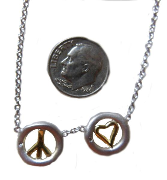 Jane A Gordon Jewelry USA New York Peace and Love necklace 18k gold, sterling, tiny diamonds on silver chain