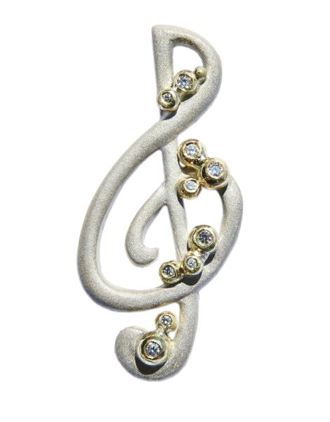 Jane A Gordon Jewelry USA New York Treble Clef pendant-Sterling Silver with solid 18K gold dots of diamonds