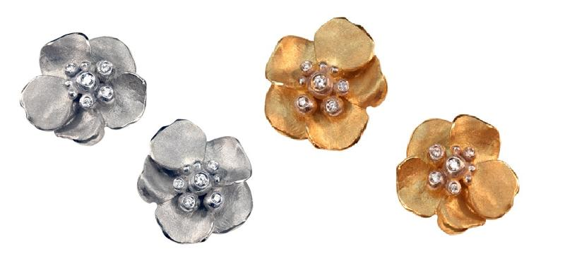Jane A Gordon Jewelry USA New York Metal petals- Pansy Earring-Small-Sterling with plate options