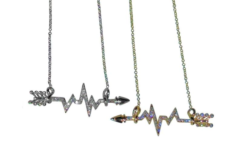 Jane A Gordon Jewelry USA New York Heartbeat Arrow with Infinity links- Necklace- Sterling Silver with diamonds
