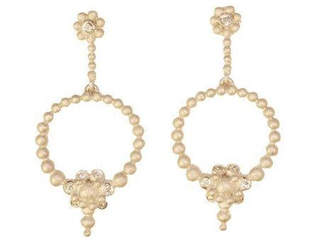 Jane A Gordon Jewelry Estados Unidos New York Circle Flower earrings-Diamonds, sterling silver with plate options