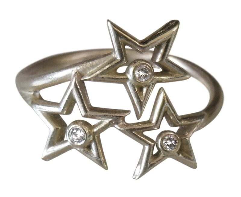 Jane A Gordon Jewelry USA New York Stars Ring- Diamonds and sterling silver with plate options