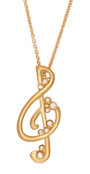 Jane A Gordon Jewelry Estados Unidos New York Treble Clef pendant-18K Gold