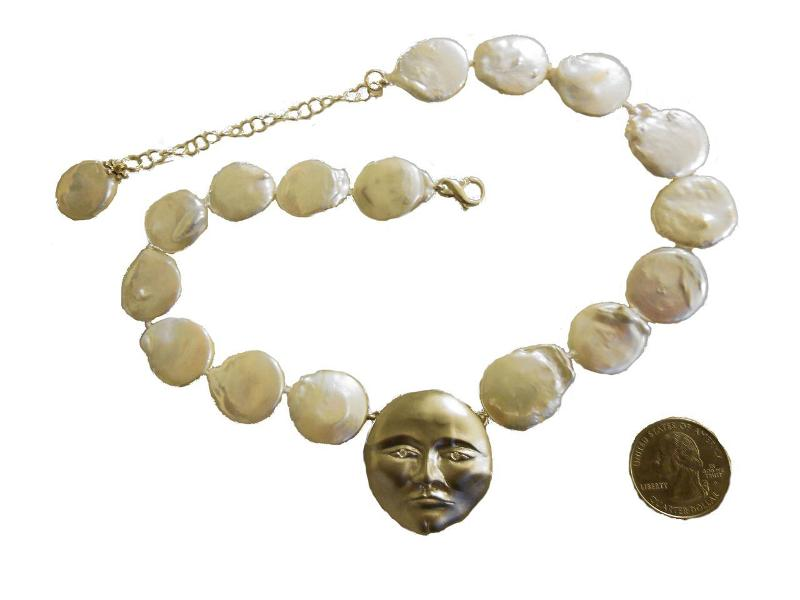 Jane A Gordon Jewelry USA New York Sterling Silver Face, Diamond Eyes, Huge coin pearl necklace. Someone to Watch Over Me-Sun