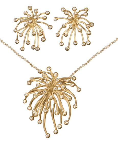 Jane A Gordon Jewelry USA New York Fireworks- Superstar Necklace-14K gold with diamonds
