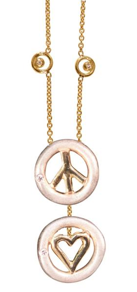 Jane A Gordon Jewelry USA New York Peace & Love necklace 18K gold with dots of diamonds karma chain--Vertical Version