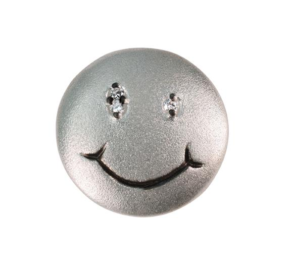 Jane A Gordon Jewelry USA New York Smile Face-pendant/enhancer/necklace Sterling silver with plate options