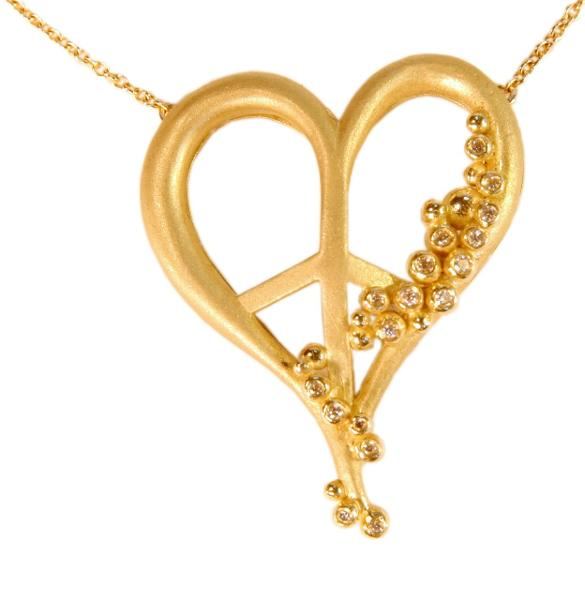 Jane A Gordon Jewelry USA New York Peace of Heart necklace-large-18K gold with diamonds