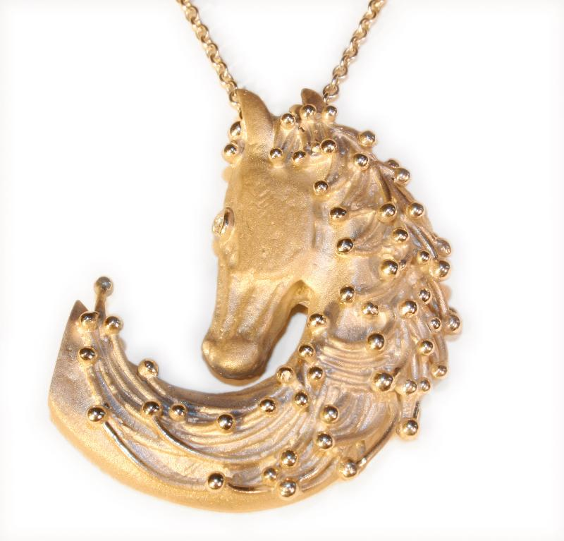 "Jane A Gordon Jewelry États-Unis New York Equestrian-MAGIC MANE-Horse head necklace ""Love and Gratitude"" Sterling and diamond"